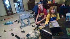 David and Sis playing Star wars 2-1-2016.  Looks like a war graveyard around them