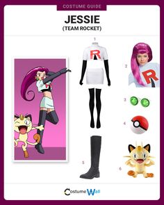 Join the Team Rocket trio cosplaying Jessie, a main character from Pokemon whose goal is to steal all the Pokemon.