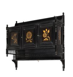 Ebonised Aesthetic Movement cabinet by Howard & Sons London, Victorian Furniture, Victorian Art, Antique Furniture, Aesthetic Movement, Aesthetic Style, Romanesque, Antique Shops, Queen Anne, British Style