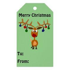 Funny Rudolph Reindeer Christmas Gift Tag #Christmas #Rudolph #reindeer #gifttags #art And www.zazzle.com/tickleyourfunnybone*