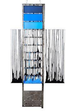 "MANUELA CIMMINO ""Ladder"" Canvas, Varnish, Iron, Plastic 59"" x 32"" x 2.2"""