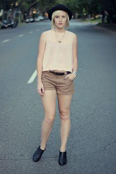 bowler hat // polka dots // camel shorts // black booties // layered necklaces