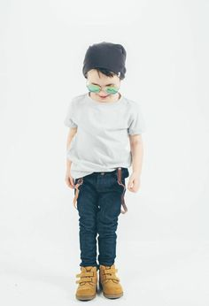Little man has some serious style. Shirt and real skinny jeans from Wildly Co. - that make kids clothing ethically