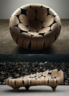 beautiful wood chair by elva.  [I wonder if the logs are solid or if they've been carved to make the furniture hollow inside.  I'd imagine that it would be unbelievably heavy if not.]