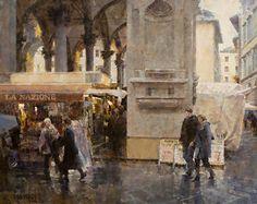 """Mercato Nuovo in Rain (Firenze) No. 2 by James Crandall Oil ~ 24"""" x 30"""""""