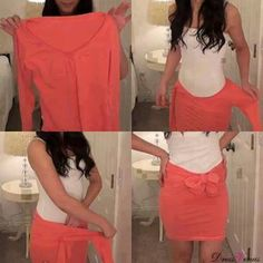 this is a fast and easy t shirt to skirt idea its fun to wear and no one knows