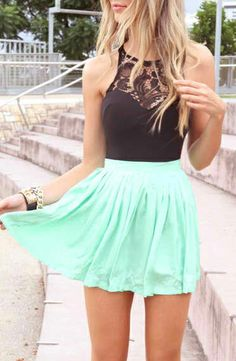 Love this outfit! First off you all know how much I love mint green so this skirt is adorable! I also love the lace neck in the shirt. This outfit is so chic and stylish and perfect for summer!