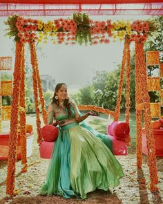 Take Inspiration From These Wedding Decor Ideas For Your Bridal Swing! Let yourself be inspired by these wedding decor ideas for your bridal swing! Desi Wedding Decor, Wedding Hall Decorations, Marriage Decoration, Wedding Mandap, Indian Wedding Receptions, Diwali Decorations, Ceremony Decorations, Mehndi Ceremony, Intimate Wedding Ceremony