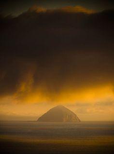 Ailsa Craig, from Kildonan bay, Isle of Arran, Scotland.