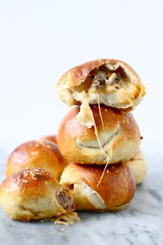 steak + cheese stuffed pretzel bites.
