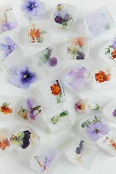 Pretty flower ice cubes, a great use for edible flowers in summer drinks! Diy With Kids, Deco Floral, Snacks Für Party, Bridal Musings, Easter Brunch, Edible Flowers, Food Art, Tea Party, Creations