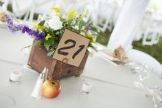 Seeing how the wedding took place at an apple orchard distillery, table number displays with apples was fitting