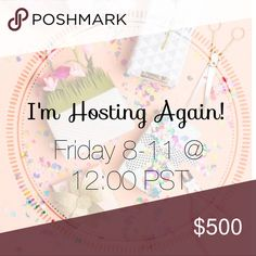 I'm Hosting a Party! 8/11 @ 12PST! I'm so excited to host my 6th Poshmark party! Feel free to comment below so I can check out your closet! ***Please do not share listings to my dressing room to be selected as a host pick. I use the dressing room for my personal shopping and not as a way to select host picks. I will not select anyone that shares items to my dressing room to be selected as a host pick*** Hosting a Party! Dresses