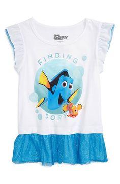 Mighty Fine 'Disney-Pixar - Finding Dory' Graphic Flutter Sleeve Tee (Toddler Girls & Little Girls)