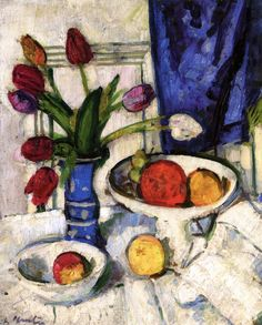 George Leslie Hunter Still LIfe with Tulips and Fruit 1928-29 - such strong Cezanne influences evident.