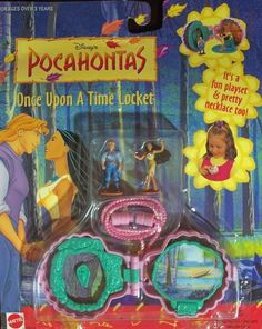 Disney's Pocahontas Once Upon a Time Locket by Arcotoys, Inc.. $29.99. Comes with 2 miniature dolls. It's a pretty necklace. Collect them all!. It's a fun playset. Safe for ages over 3. This is a cute necklace locket. One side shows the photo and the other opens to a fabulous playset. Sure to delight any little girl.