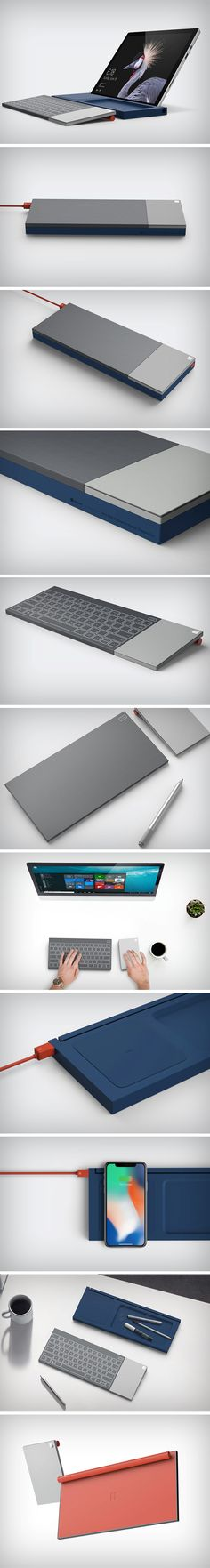 The All In One Keyboard comes with this unusual design that looks funny first, but makes a world of sense later. Fitting inside its cuboidal frame is a keyboard, a trackpad, and a wireless charging dock (that not only charges the keyboard but even your smartphones). The keyboard uses capacitve 'feather' touch to remain sleek and svelte. A cylindrical member at its bottom positions it at just the correct angle to allow you to type with ease.