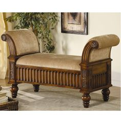 The best thing about this Rolled Arm Upholstered Bench with Dentil Skirt is the handcrafted details. Features include fluted carvings, twisted posts and scrolled arms adorned with floral carvings and medium brown finish. The traditional style of this beautiful bench matches is a great addition to your home.