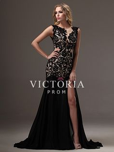 Sexy Black Lace Chiffon Mermaid Long Sleeveless Open Back Prom Dress - US$ 163.99 - Style P2539 - Victoria Prom