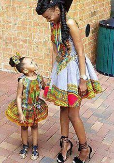 ضحكتهم ونظراتهم لبعض :) Afro-inspired print mum and daughter matching outfit