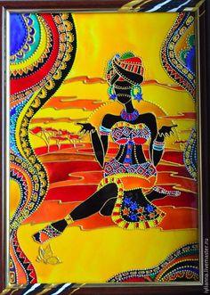 Купить Витражная картина «Африка» - Витражная роспись, витражная роспись этно, картина в подарок