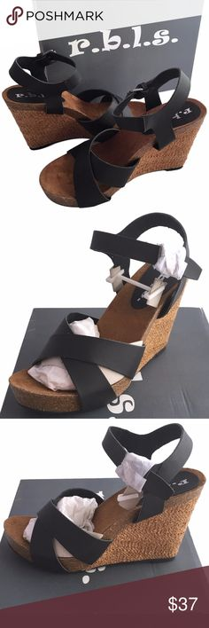 """Rbls Women's Bianca Wedge Sandal Synthetic Imported Rubber sole Heel measures approximately 3.75"""" Platform measures approximately 1"""" Material: Synthetic Upper and Man-Made Outsole RBLS Shoes Wedges"""
