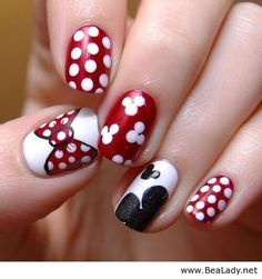 Top Three 2015 Nail Designs for the Young Girls : 2015 Nail Art For Short Nails. 2015 manicure nail design ideas,nail art designs trends and photos nail 2015 Minnie Mouse Nails, Mickey Nails, Minnie Bow, Mickey Mouse Nail Art, Fancy Nails, Love Nails, Pretty Nails, Cute Red Nails, Sexy Nails