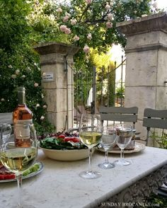 Sunday Brocantes... A WINE TABLE IN FRANCE ...., mmmm France, wine, outside all my favourites in one shot :)