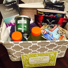 Gift basket ideas for men. This one in particular is for a surgery recovery gift basket for my husband.