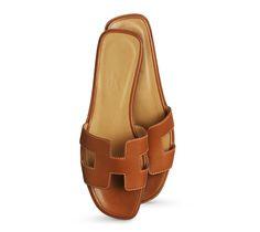 Sandales plates pour femme en veau Box, doublure et première noisette, semelle en cuir