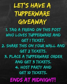 Tupperware Giveaway Note