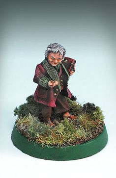 """Bilbo Baggins, from Games Workshop's """"Lord of the Rings"""" line Warhammer Figures, Ring Game, Battle Games, Bilbo Baggins, Game Workshop, Miniature Gardens, Fantasy Miniatures, Middle Earth, Lord Of The Rings"""