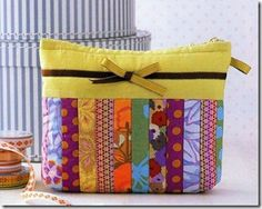 quilted patchwork cosmetic bag
