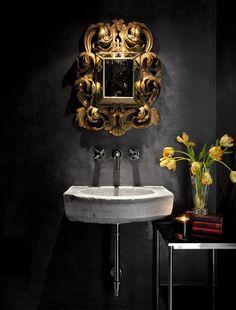 Marcus Design: {designer profile: ryan street & associates} Black Walls, Gold Frame for Powder room.