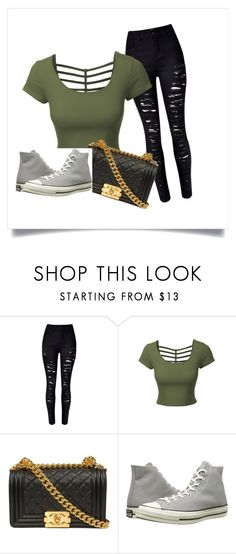 """Untitled #47"" by brie-sadler on Polyvore featuring LE3NO, Chanel and Converse"