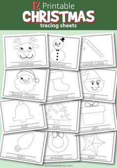 Christmas tracing sheets #christmas #preschool #elementary #holiday