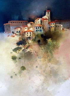 John Lovett ~ Hillside Village (watercolor)