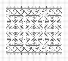 version of this pattern, placed into the cuffs and collar of a mens blackwork shirt