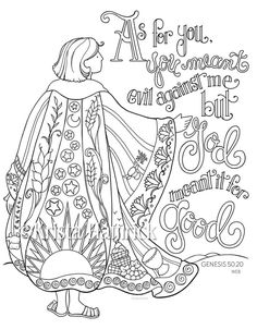 Joseph's Coat of Many Colors coloring page Bible journaling tip-in Coloring Pages For Grown Ups, Free Adult Coloring Pages, Bible Coloring Pages, Coloring Pages To Print, Coloring Books, Sunday School Coloring Pages, Fairy Coloring, Kids Coloring, Coloring Sheets