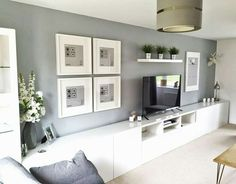 Minimalist living room Ikea with wall units Exceptional Ikea wall units . - Minimalist living room Ikea with wall units Exceptional Ikea wall units …, # ordi - Living Room Tv Unit, Living Room Grey, Home Living Room, Living Room Designs, Ikea Living Room Storage, Long Living Rooms, Tv Wall Ideas Living Room, Wall Storage, Tv On The Wall Ideas