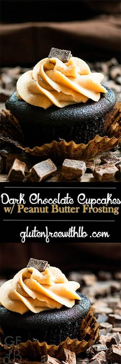 Gluten Free with L.B. | Dark Chocolate Cupcakes with Peanut Butter Frosting | http://glutenfreewithlb.com