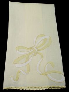 MARGHAB HAND TOWEL, yellow and white Big Bow pattern with embroidery and applique / Madeira bath linen powder room guest towel