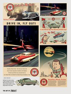 The Art of Fallout 4 - /// Vault 13 Fallout 4 Poster, Fallout Theme, Fallout Props, Fallout Fan Art, Fallout Concept Art, Automatic Car Wash, Vault Tec, Car Advertising, Product Advertising