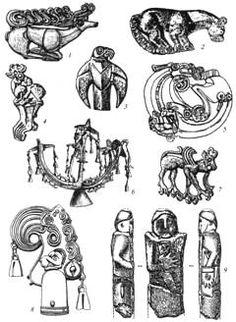 Скифское искусство: 1, 2 — золотые бляхи щита или горита в виде оленя и кошачьего хищника; 3 — золотая бляха пояса в виде птицы; 4, 5 — бронзовые уздечные бляхи с изображениями лося и хищника, свернувшегося в кольцо; 6 — бронзовое навершие шеста с антропоморфным и зооморфными изображениями; 7 — бронзовая уздечная бляха в виде грифона; 8 — бронзовое навершие шеста в виде птичьей головы с дополнительными зооморфными образами; 9 — монументальная антропоморфная каменная скульптура.