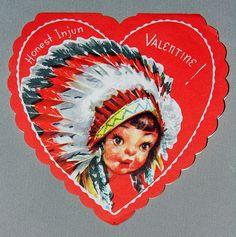 """Vintage Valentine Card """"Honest Injun Valentine!"""" Valentine Greeting Cards, Vintage Valentine Cards, Vintage Cards, Vintage Paper, Vintage Postcards, Vintage Images, Valentine Heart, Valentine Stuff, Valentine Ideas"""