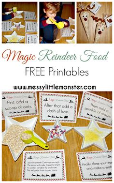 Magic reindeer food with FREE PRINTABLE signs and poem labels.  A magical…