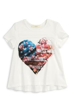 Cool American flag t-shirts for kids: Love this girls' tee which is both sweet, sentimental, and totally on trend