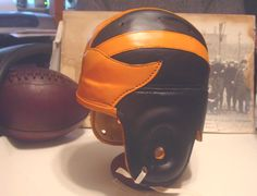 Old Princeton 1930s leather helmet Black with orange wing and straps
