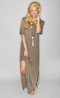 cool breeze knit maxi dress - chocolate