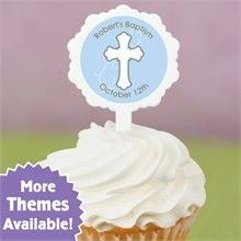 12 Cupcake Picks & 24 Personalized Stickers - Do It Yourself Baptism Cupcake Toppers